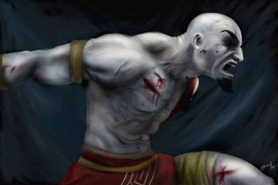 Ilustracion digital de Kratos God of War